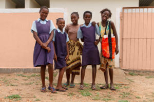 Girls getting menstrual health education in Zambia